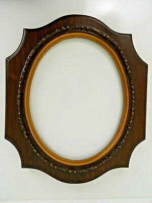 Vintage Oval Picture Frame Resin Ornate Scroll  Gold Gilt Trim 18 x 15 inches