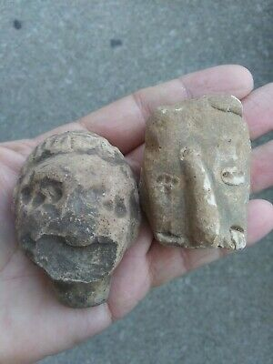 2 Precolumbian Pottery Heads AUTHENTIC