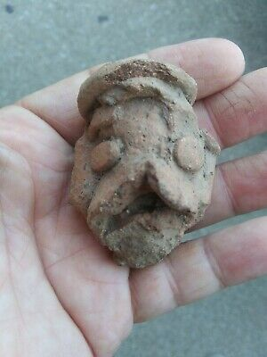 Unusual Precolumbian Pottery Head AUTHENTIC