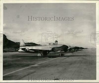 1949 Press Photo US Army P-80s on an airfield in Okinawa, Japan - pix21491