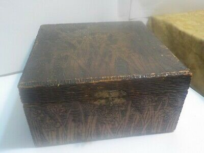 Signed & Dated Early 20th Century Antique Hand Carved Wooden Box Floral Design