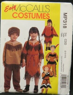 McCall's 318 Child's Indian and Cowboy costume pattern size 2, 3, 4, 5, uncut