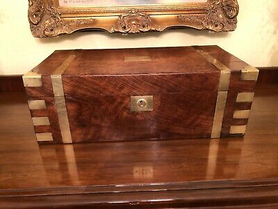 Antique English Mahogany Campaign Brass Banded Lap Desk Traveling Writing Box