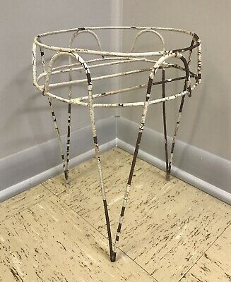 """Vintage Wrought Iron Hairpin Plant Stand Plant Pot Holder Mid Century Modern 15"""""""