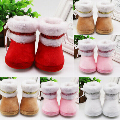 Infant Toddler Girls Solid Cashmere Plush Winter Boots Bandage Warm Crib Shoes