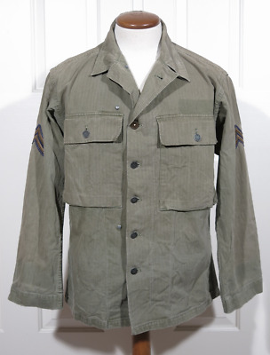 WWII HBT ARMY COMBAT JACKET SHIRT 13 Star Buttons