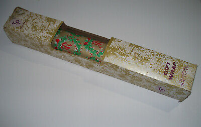 vintage Mid-Century WREATH & BOW Christmas Gift Wrap Wrapping Paper Roll +box