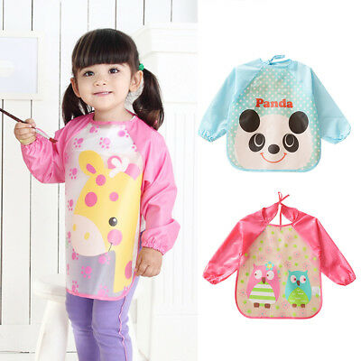 KQ_ KF_ Children Waterproof Long Sleeved Smock Kids Eating Painting Apron Bib To