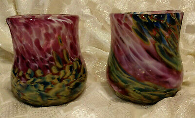 KAREN NAYLOR ART GLASS Purple Green Blue SIGNED TUMBLERS set of 2