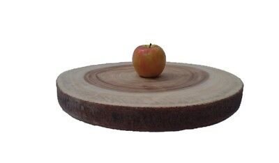 Round wood slice cut serving slab Cake stand platter rustic wedding décor M