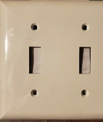 Wall plate Cover Double Toggle Switch- White- New In Package- Jasco