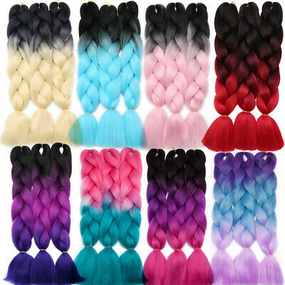 Women Girl Long Hair Wig Colored Crochet Hair Extensions Cosplay Fancy Party AU