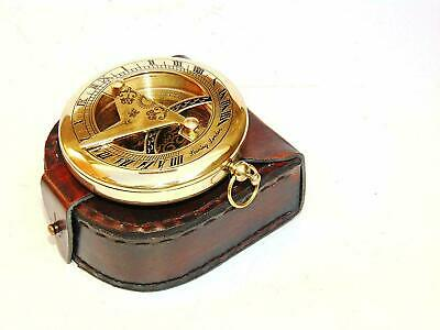 Nautical Antique Marine Brass Push Button Pocket Sundial Compass W/Leather Box