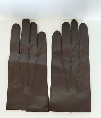 Vintage Brown Leather Gloves New Still Pinned Size 9