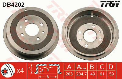 FIAT PANDA 169 1.4 Brake Drum Rear 2010 on 350A1.000 203mm TRW 51822458 7774593