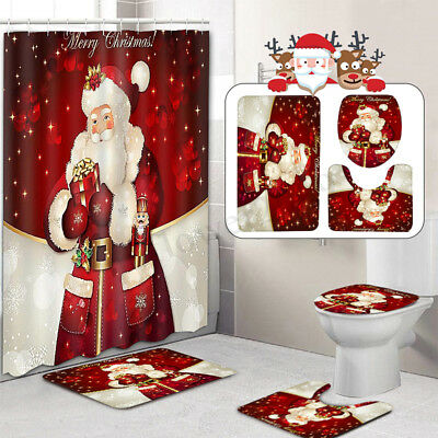 Christmas Santa Claus Bathroom Toilet Pad Cover Bath Mat Shower Curtain Non-Slip