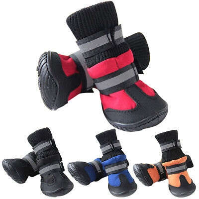 4Pcs Pet Dog Shoes Waterproof Boots Booties Autumn Winter Warm Outdoor Non-slip