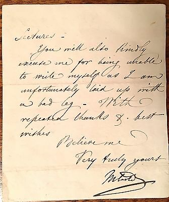 Sir Michael Costa   Italian Born Composer 1808 - 1884 Hand Signed Note