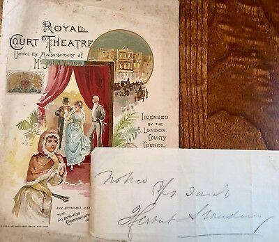 Royal Court Theatre Programme 1891 & Herbert Standing Film &Stage Star Autograph