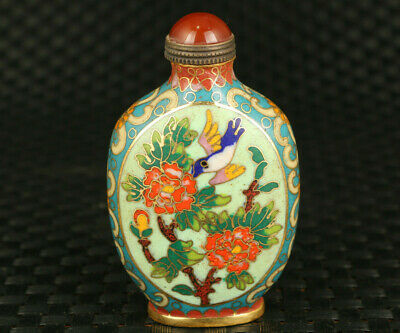Rare chinese old cloisonne hand painting flower snuff bottle