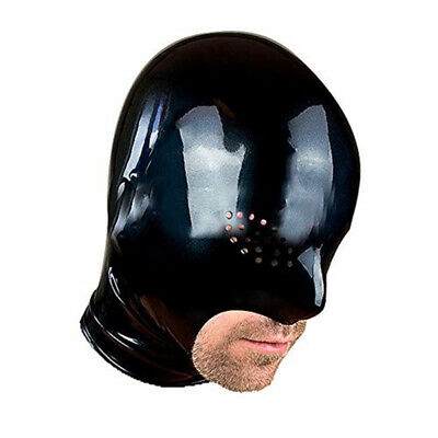 Latex Hood Open Mesh Eyes Exposed Mouth and Chin Back Zipper Black Rubber Mask