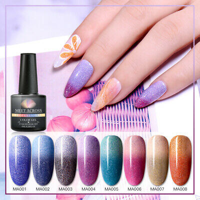 MEET ACROSS 8ml UV Temperature Mood Color Change Shine Nail Gel Polish Varnish