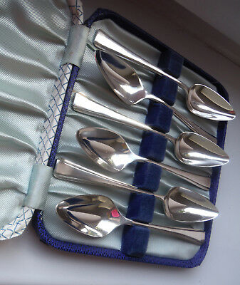 CASED DECO c1920 SHEFFIELD SILVER PLATED GRAPEFRUIT SPOONS-TURTON ^