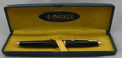 Parker 75 Black Lacquer & Gold Rollerball Pen In Box - 1985 - Made in France