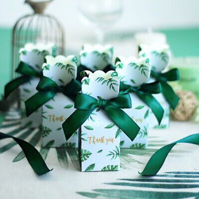 Green Paper Candy Boxes Gift Bag Wedding Gift Baby Shower Favors Party Dec~GN
