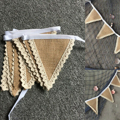 Vintage Lace Banner Burlap Banner Triangle Burlap Wedding Bunting Party Decor~GN