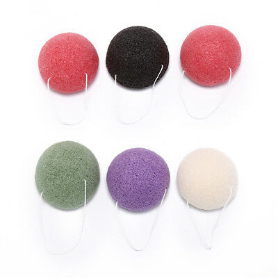 2X round natural konjac charcoal facial softpuff face washing cleansing spong~GN