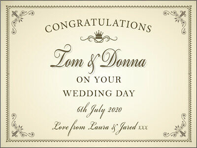 PERSONALISED Congratulations On Your Wedding Day LABEL (for prosecco, champagne)
