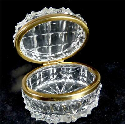 Antique French Clear Cut Glass Crystal Casket Box