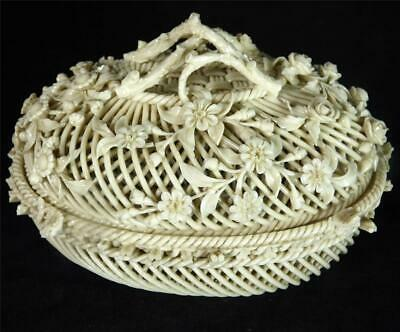 Antique 19Th Century Belleek Covered Basket