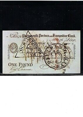 19Th Century Great Britain Currency, 1 Pound Note, Portsmouth, Early Reprint