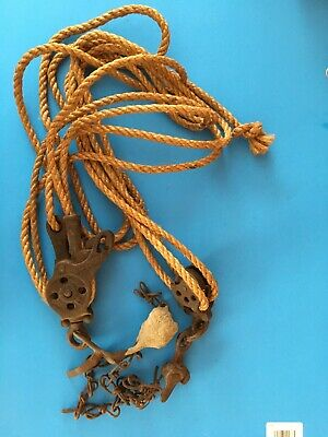 VINTAGE/ANTIQUE DOUBLE PULLEY BLOCK AND TACKLE Pat Mar  21  85