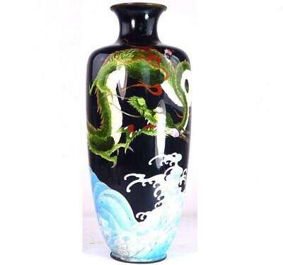 Antique Japanese Meiji Cloisonne Vase Three Clawed Dragon Above Wavy Seas