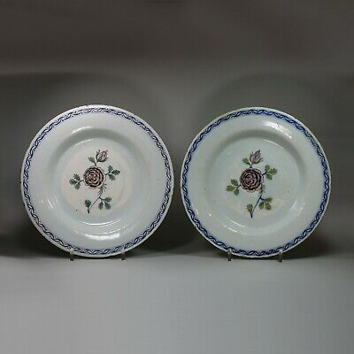 Antique Pair of Dutch delft polychrome plates, circa 1770