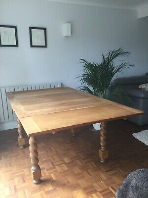 Extendable Antique Oak Table with Barley Twist Legs