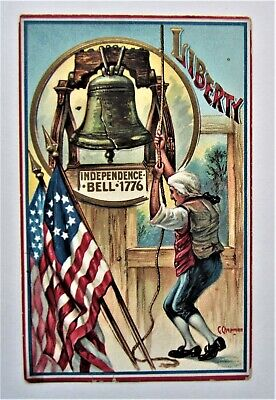 Ringing the LIBERTY BELL 1776 Gold FLAGS Embossed Chapman Patriotic Postcard