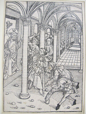 ORIG 15th C 1490-91 Michael Wohlgemuth Woodcut RARE Schatzbehalter Leaf Page yqz