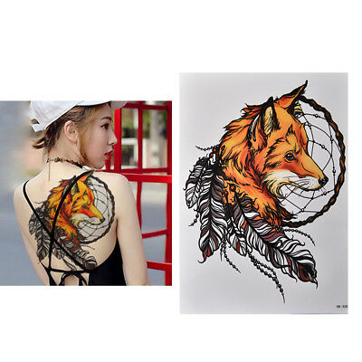 Waterproof Fox Dreamcatcher Temporary Tattoo Large Arm Body Art Tattoos Stic~GN