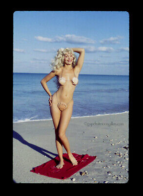 Bunny Yeager 1960s Color Slide Transparency Pretty Beach Babe Blonde Pin-up NR