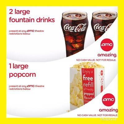 AMC Theater 2 Large Drink Coke &1 Large Popcorn Instant Delivery! Exp 06/30/20