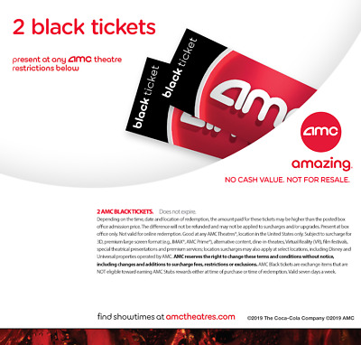 2 AMC Black Movie E-Tickets *Instant delivery!* No expiration date