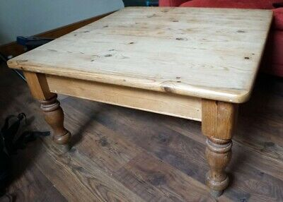 Victorian style rustic pine farmhouse coffee table solid pine