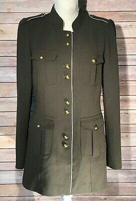 White House Black Market Military Style Jacket Olive Green Metal Buttons Small