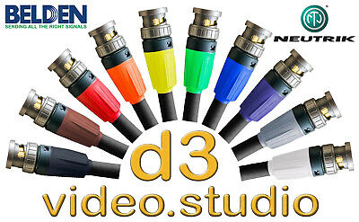 Long HD SDI Video Belden 1694f Flexible Cable Neutrik UHD BNC  Tricaster BMD