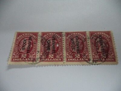 (298) Strip Of 4 Early American 2 Dollar Stock Transfer Stamps In Good Condition