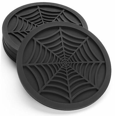 """Silicone Coasters For Drinks - 6 Pack Unique Design Spider Drink Coasters, 4"""" Bl"""